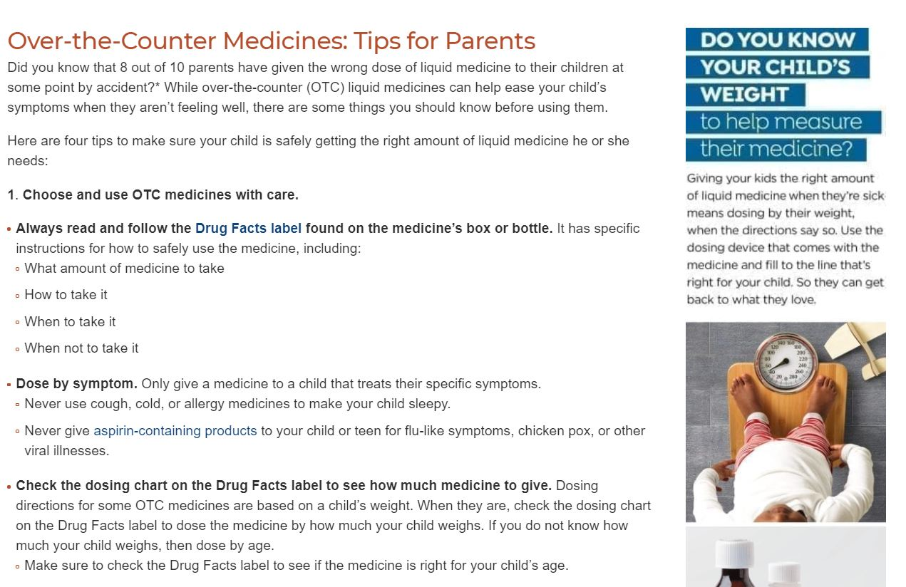 KnowYourOTCs Tips for Parents Webpage